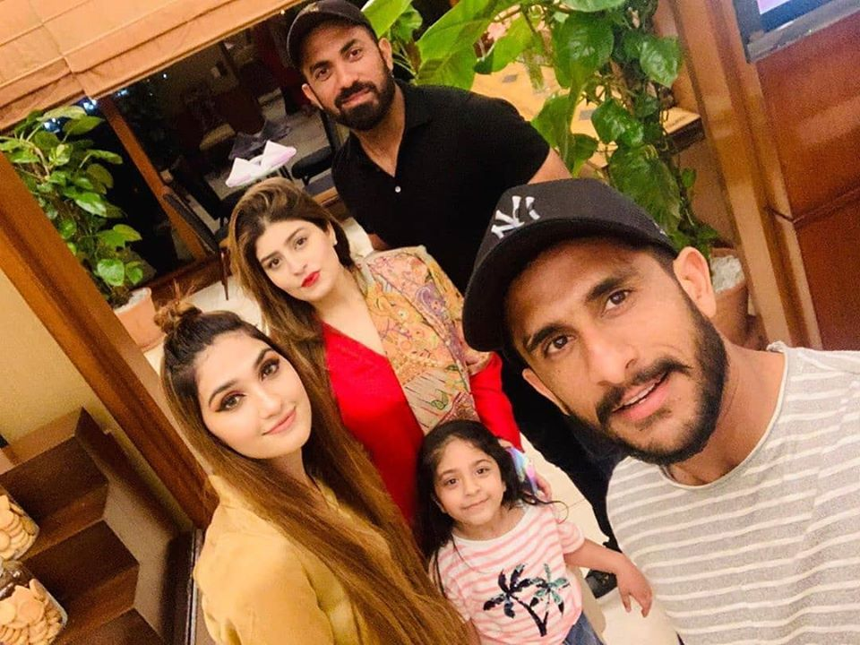 Hasan Ali and his wife Samyah Khan with wahab Riaz his wife Zaynab Wahab and daughter .